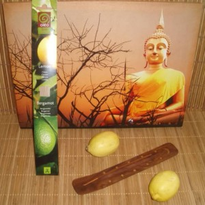 Pack support+bâtons d'encens senteur citron-bergamote Oléobio